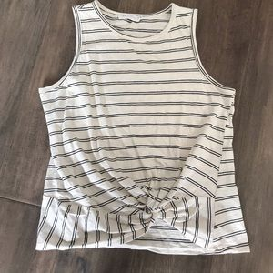 All in Favor Striped Sleeveless Faux Tie Front SzM